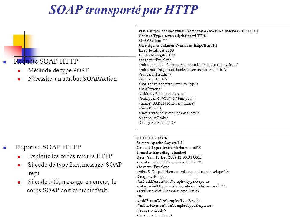 SOAP transporté par HTTP Requête SOAP HTTP Méthode de type POST Nécessite un attribut SOAPAction Réponse SOAP HTTP Exploite les codes retours HTTP Si