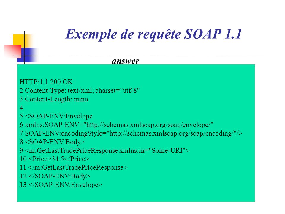 Exemple 2 <env:Envelope 3 xmlns:env= http://schemas.xmlsoap.org/soap/envelope/ 4 xmlns:xsd= http://www.w3.org/2001/XMLSchema 5 xmlns:xsi= http://www.w3.org/2001/XMLSchema-instance 6 xmlns:SOAP-ENC= http://schemas.xmlsoap.org/soap/encoding/ > 7 8 9 env:Server 10 xx is not a valid integer value 11 12 13 erreur.xml