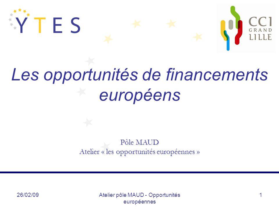 26/02/09Atelier pôle MAUD - Opportunités européennes 22 Autres programmes européens (2) Autres programmes (Eurêka – Eurostars – Living Labs) Eurostars Programme destiné à soutenir les PME de haute technologie, orientées marché et à fort potentiel de croissance, à travers des projets en partenariat européen Vise à encourager lesprit dentreprise européen en finançant les projets dentreprises engagées dans des activités de R&D Eligibilité : un projet doit engager au minimum deux entités distinctes de deux pays membres Le projet doit conduire à un produit, procédé, service commercialisables Contribution moyenne dEurostars : 1,4M par projet (taux daide en France = 40%) La durée dun projet Eurostars doit être inférieure à 3 ans 2 appels à projets en moyenne par an (la prochaine date limite de dépôt des dossiers étant fixée au 24/09/09)