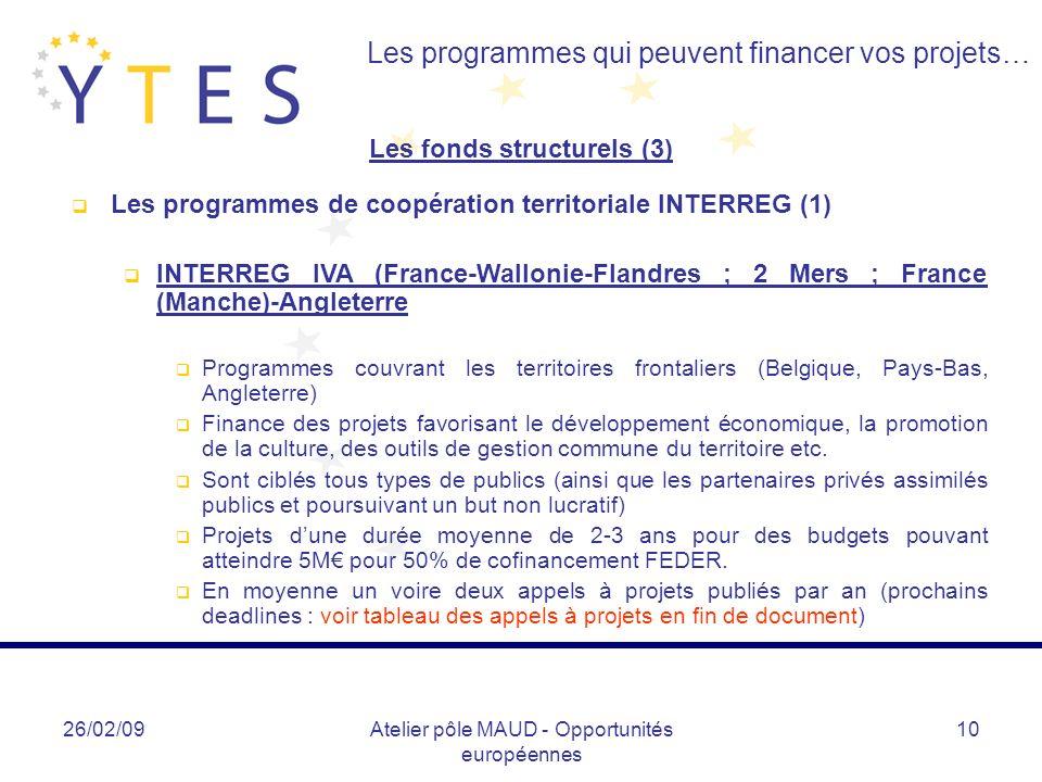 26/02/09Atelier pôle MAUD - Opportunités européennes 10 Les programmes qui peuvent financer vos projets… Les fonds structurels (3) Les programmes de c