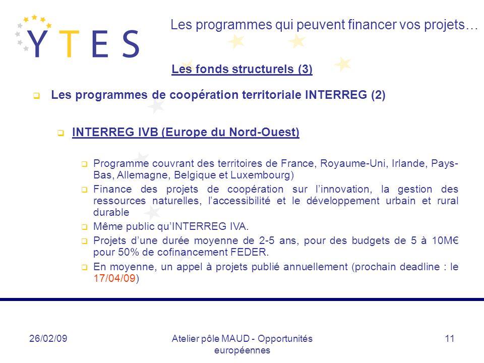 26/02/09Atelier pôle MAUD - Opportunités européennes 11 Les programmes qui peuvent financer vos projets… Les fonds structurels (3) Les programmes de c