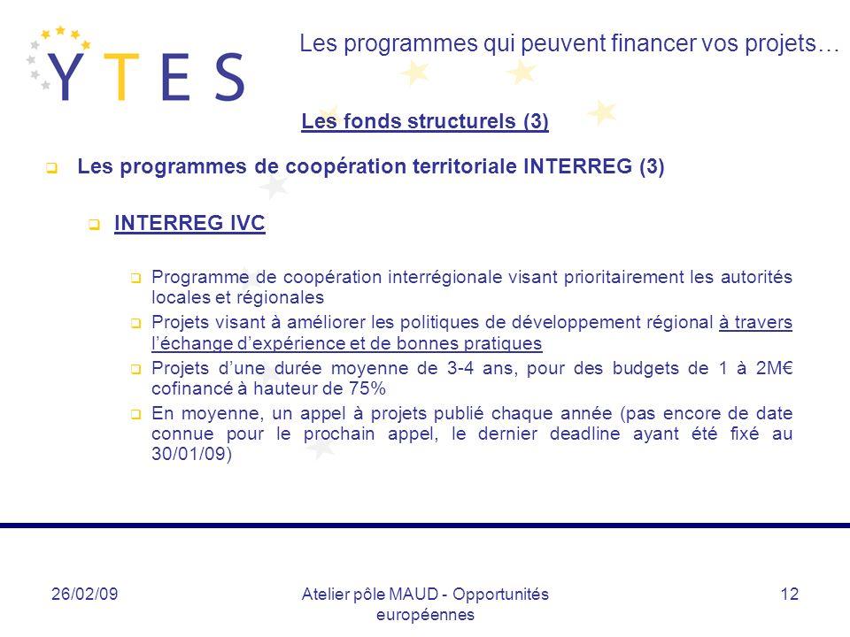 26/02/09Atelier pôle MAUD - Opportunités européennes 12 Les programmes qui peuvent financer vos projets… Les fonds structurels (3) Les programmes de c