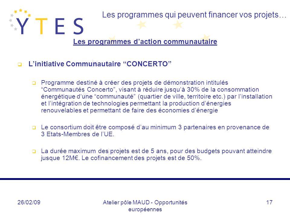 26/02/09Atelier pôle MAUD - Opportunités européennes 17 Les programmes qui peuvent financer vos projets… Les programmes daction communautaire Linitiat