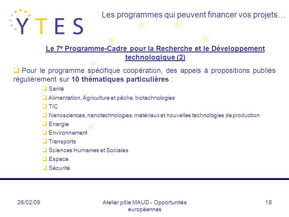 26/02/09Atelier pôle MAUD - Opportunités européennes 19 Les programmes qui peuvent financer vos projets… Pour le programme spécifique coopération, des