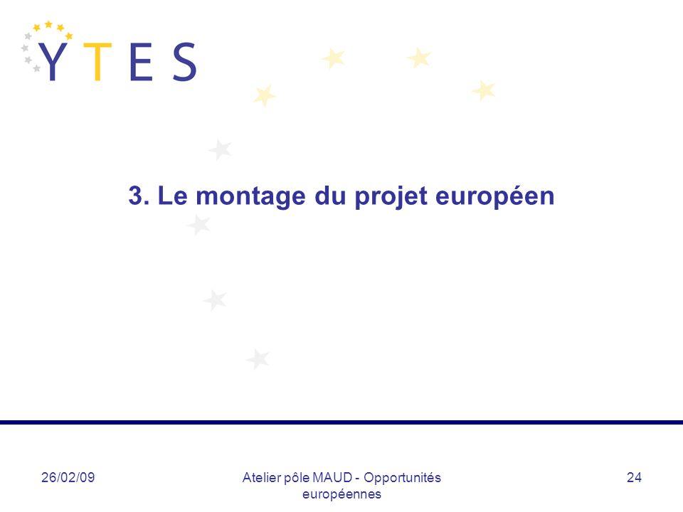 26/02/09Atelier pôle MAUD - Opportunités européennes 24 3. Le montage du projet européen