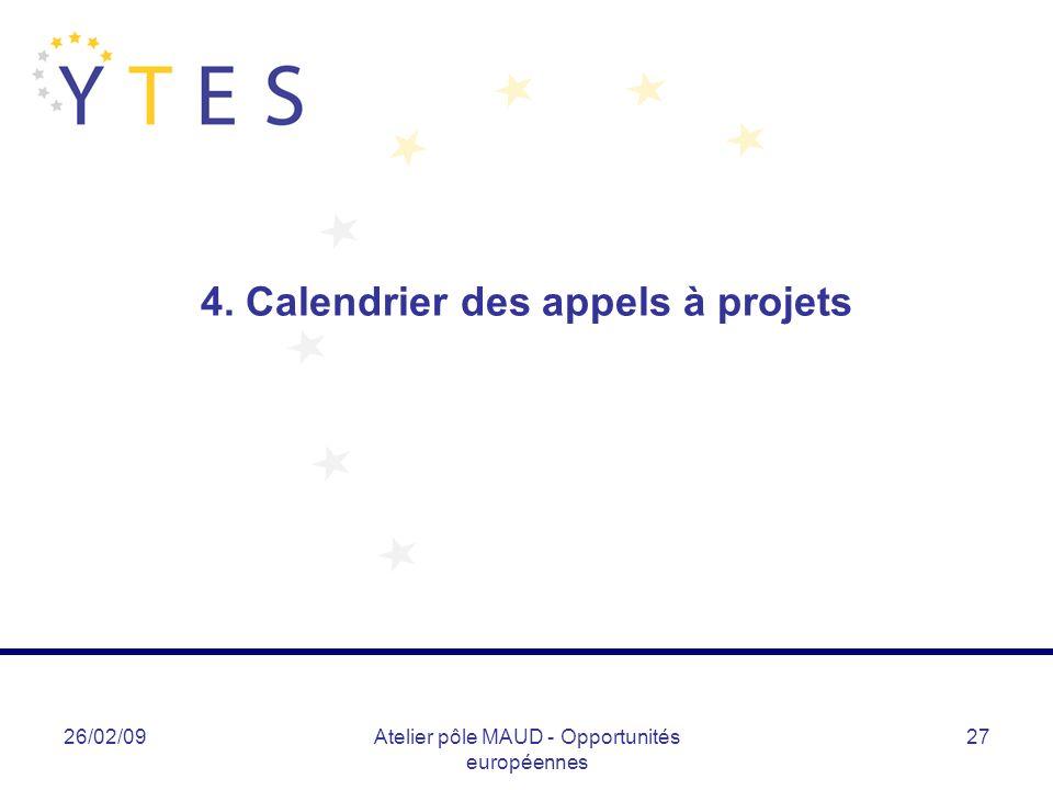 26/02/09Atelier pôle MAUD - Opportunités européennes 27 4. Calendrier des appels à projets