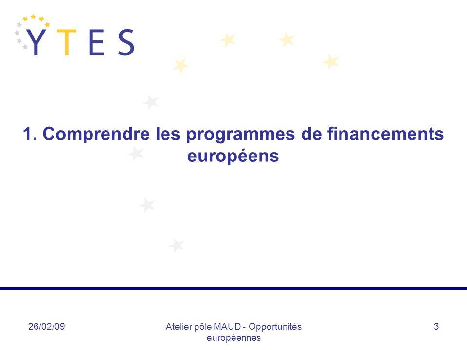 26/02/09Atelier pôle MAUD - Opportunités européennes 4 Comprendre… Une stratégie – Lisbonne/Göteborg : investir durablement dans léconomie de la connaissance pour stimuler la croissance et créer de lemploi Stratégie qui définit les priorités des programmes de financements européens – important pour la nouvelle période de programmation 2007-2013 (Cf.
