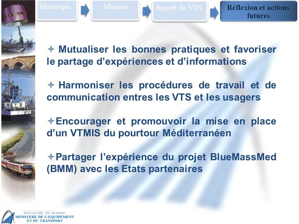 MSC 86 IMO Head Quarter – London, 27 May – 5 June Historique Mission Réflexion et actions futures Apport du VTS Mutualiser les bonnes pratiques et favoriser le partage dexpériences et dinformations Harmoniser les procédures de travail et de communication entres les VTS et les usagers Encourager et promouvoir la mise en place dun VTMIS du pourtour Méditerranéen Partager lexpérience du projet BlueMassMed (BMM) avec les Etats partenaires