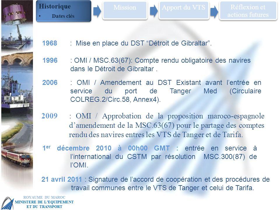 MSC 86 IMO Head Quarter – London, 27 May – 5 June 2009: OMI / Approbation de la proposition maroco-espagnole damendement de la MSC.63(67) pour le partage des comptes rendu des navires entres les VTS de Tanger et de Tarifa.