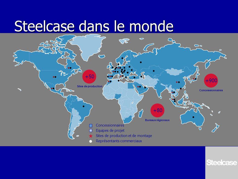 Steelcase dans le monde Concessionnaires Equipes de projet Sites de production et de montage Représentants commerciaux +50 Sites de production +80 Bur