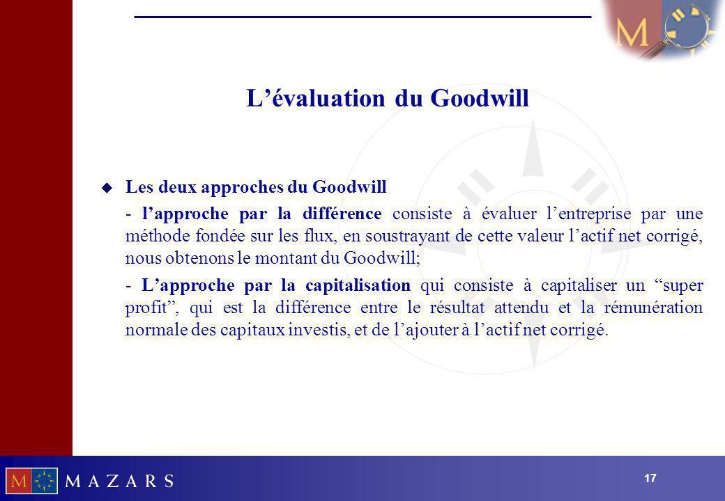 17 Lévaluation du Goodwill u Les deux approches du Goodwill - lapproche par la différence consiste à évaluer lentreprise par une méthode fondée sur le