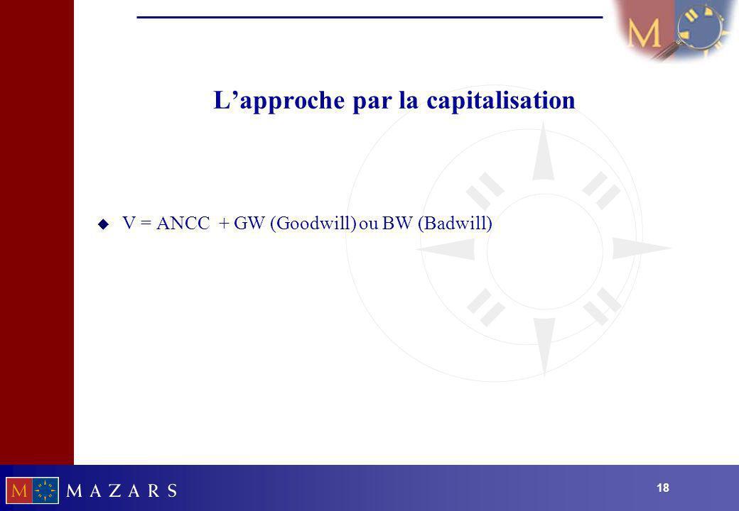 18 Lapproche par la capitalisation u V = ANCC + GW (Goodwill) ou BW (Badwill)