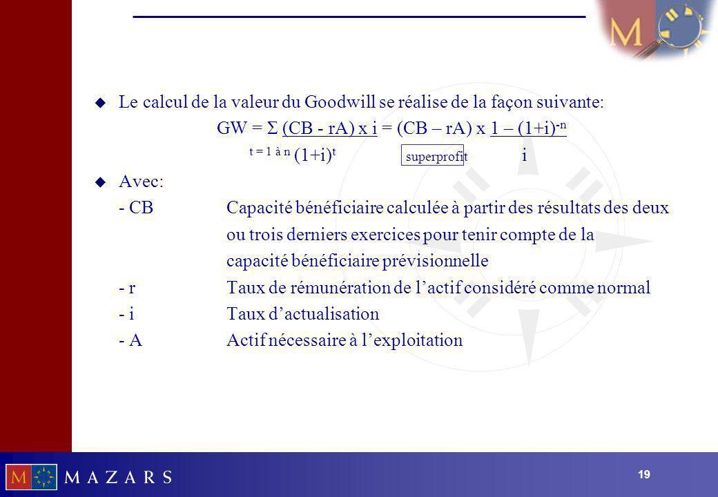 19 u Le calcul de la valeur du Goodwill se réalise de la façon suivante: GW = Σ (CB - rA) x i = (CB – rA) x 1 – (1+i) -n t = 1 à n (1+i) t superprofit