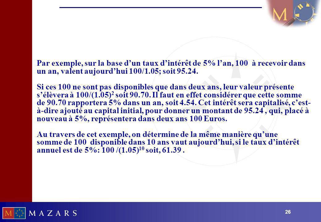 26 Par exemple, sur la base dun taux dintérêt de 5% lan, 100 à recevoir dans un an, valent aujourdhui 100/1.05; soit 95.24. Si ces 100 ne sont pas dis