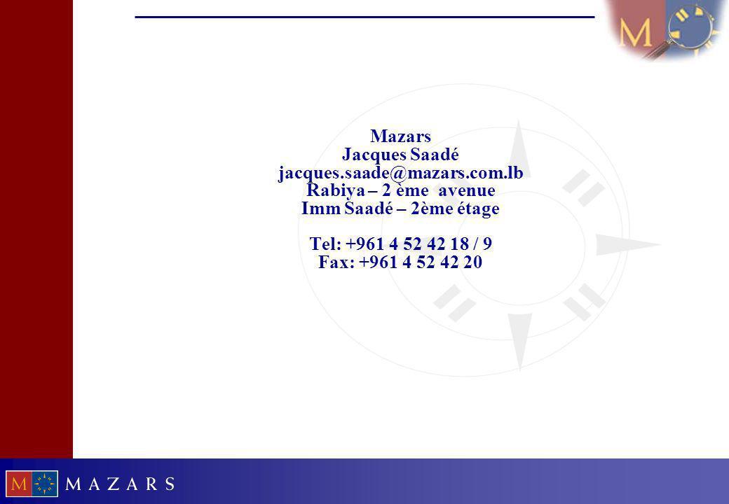 31 Mazars Jacques Saadé jacques.saade@mazars.com.lb Rabiya – 2 ème avenue Imm Saadé – 2ème étage Tel: +961 4 52 42 18 / 9 Fax: +961 4 52 42 20