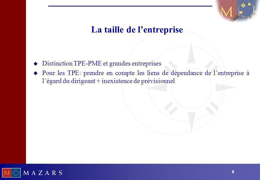 66 La taille de lentreprise u Distinction TPE-PME et grandes entreprises u Pour les TPE: prendre en compte les liens de dépendance de lentreprise à lé