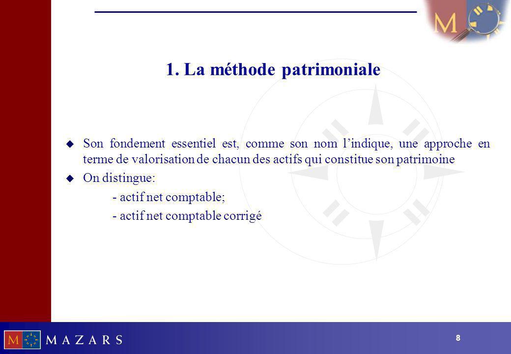 88 1. La méthode patrimoniale u Son fondement essentiel est, comme son nom lindique, une approche en terme de valorisation de chacun des actifs qui co