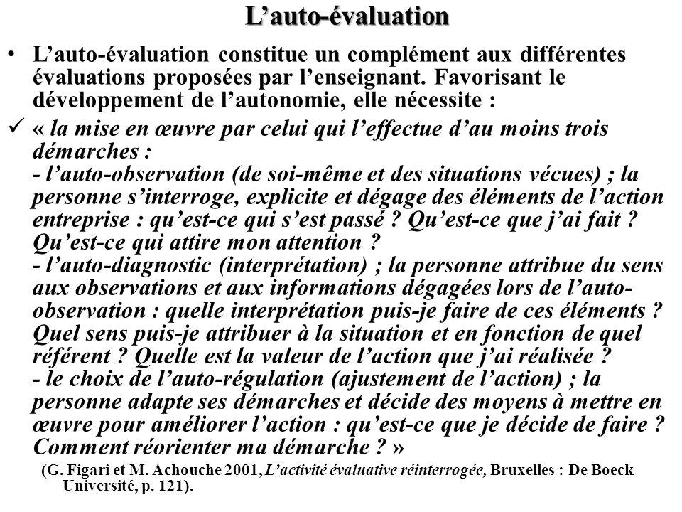Lauto-évaluation Lauto-évaluation constitue un complément aux différentes évaluations proposées par lenseignant. Favorisant le développement de lauton