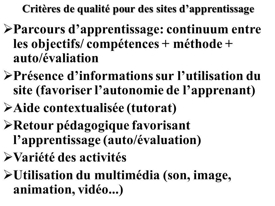 Critères de qualité pour des sites dapprentissage Parcours dapprentissage: continuum entre les objectifs/ compétences + méthode + auto/évaliation Prés
