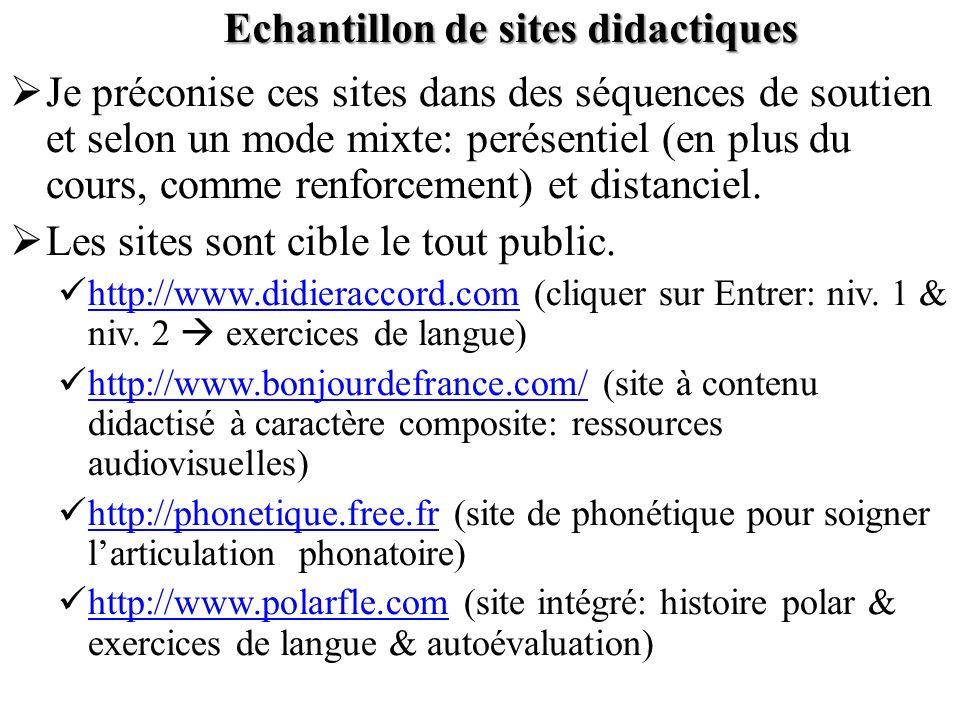 Echantillon de sites didactiques Je préconise ces sites dans des séquences de soutien et selon un mode mixte: perésentiel (en plus du cours, comme ren