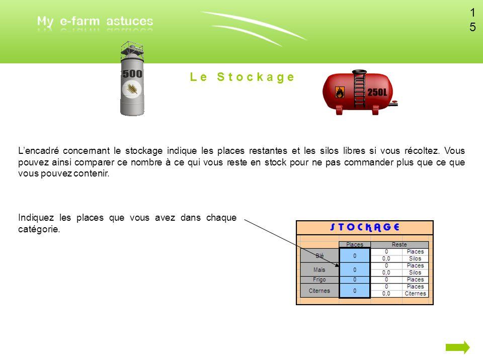 L e S t o c k a g e Lencadré concernant le stockage indique les places restantes et les silos libres si vous récoltez. Vous pouvez ainsi comparer ce n