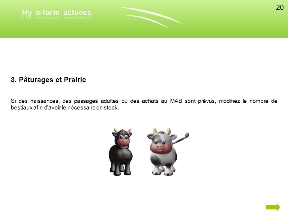 3. Pâturages et Prairie Si des naissances, des passages adultes ou des achats au MAB sont prévus, modifiez le nombre de bestiaux afin davoir le nécess