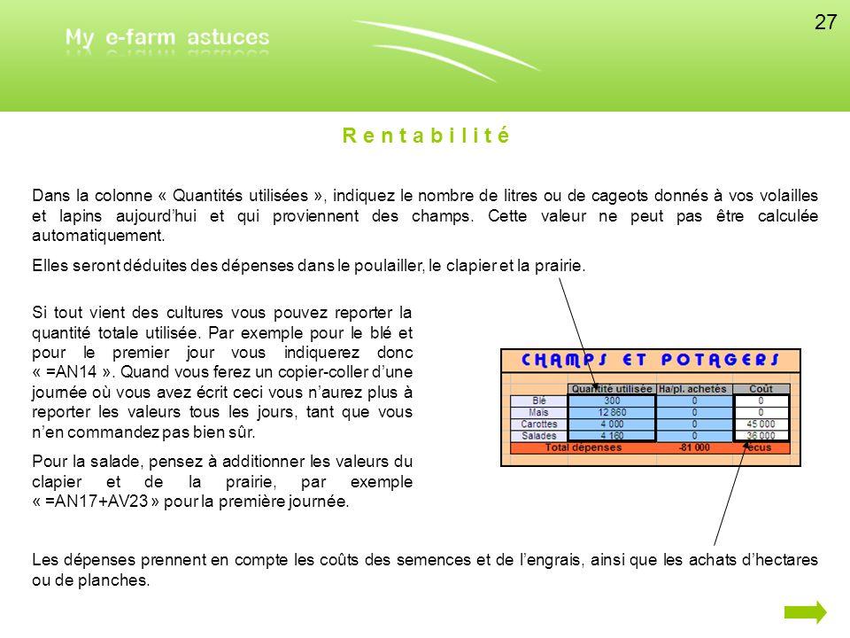 Dans la colonne « Quantités utilisées », indiquez le nombre de litres ou de cageots donnés à vos volailles et lapins aujourdhui et qui proviennent des
