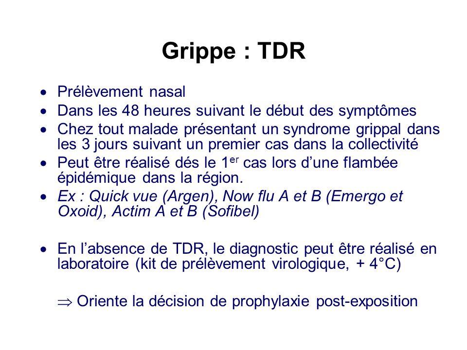 Grippe : Prophylaxie (Oseltamivir) Lors de cas groupés (au moins 2 cas, confirmés par TDR, en 3 jours) Dans les 48 heures qui suivent un contact avec un malade Chez les résidents vaccinés ou non Prescrit jusquau 7 ème jour après le début des symptômes Protocole de mise en place de la chimio-prophylaxie dans une collectivité de personnes à risque lors dune épidémie de grippe, en période de circulation du virus grippal Complément à la circulaire N°444 du 17 septembre 2004