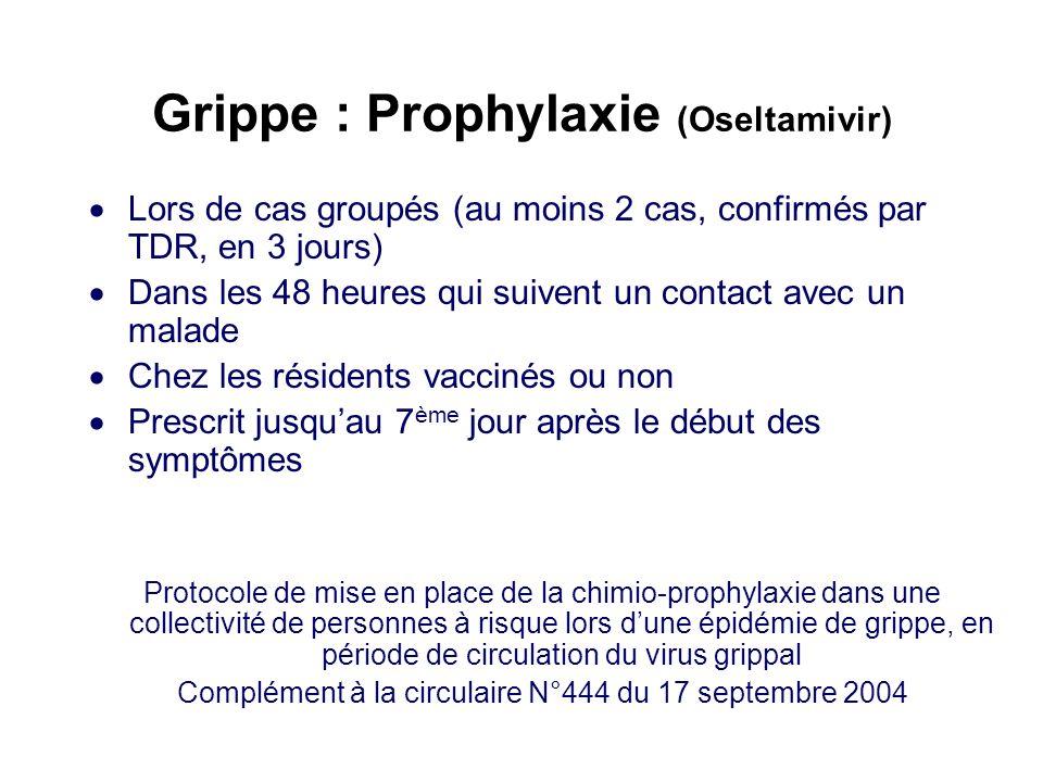 Grippe : Prophylaxie (Oseltamivir) Lors de cas groupés (au moins 2 cas, confirmés par TDR, en 3 jours) Dans les 48 heures qui suivent un contact avec