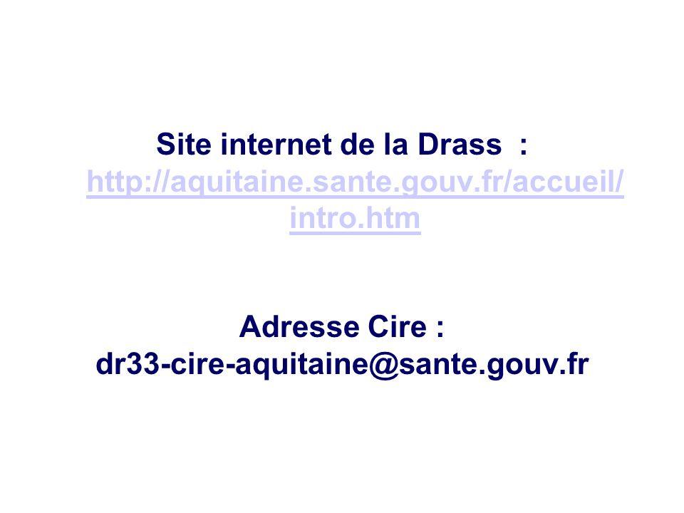 Site internet de la Drass : http://aquitaine.sante.gouv.fr/accueil/ intro.htm http://aquitaine.sante.gouv.fr/accueil/ intro.htm Adresse Cire : dr33-ci