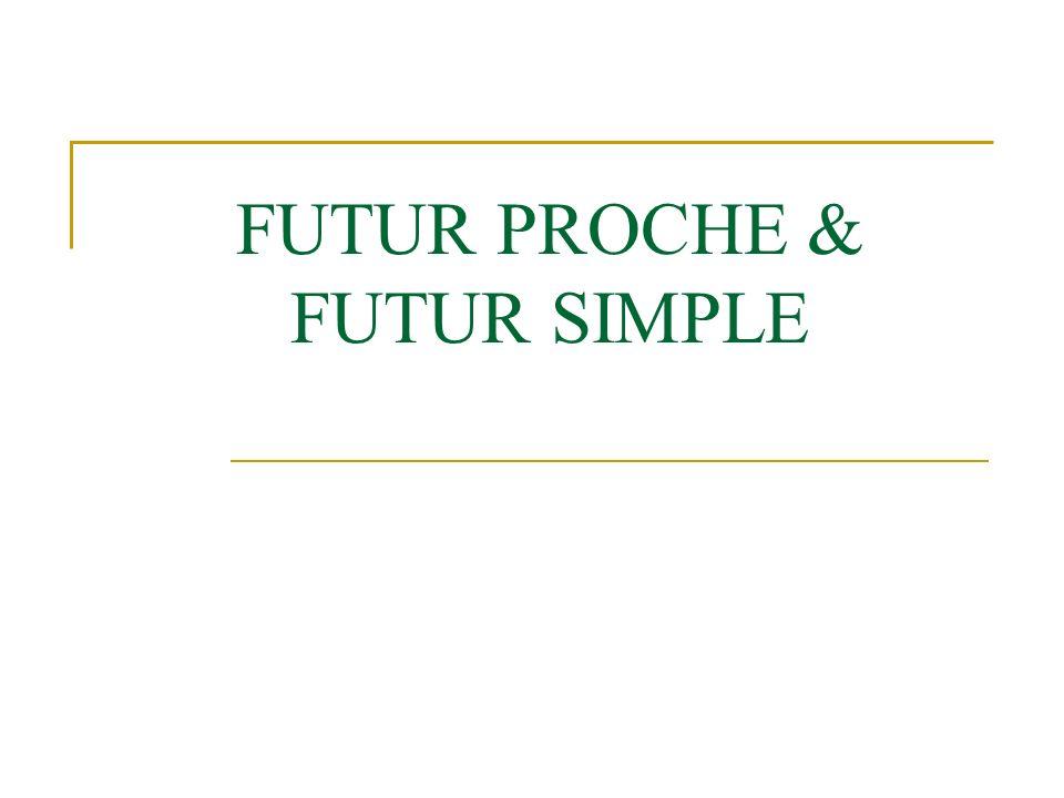 Futur Proche Le futur déclare qui se passer.