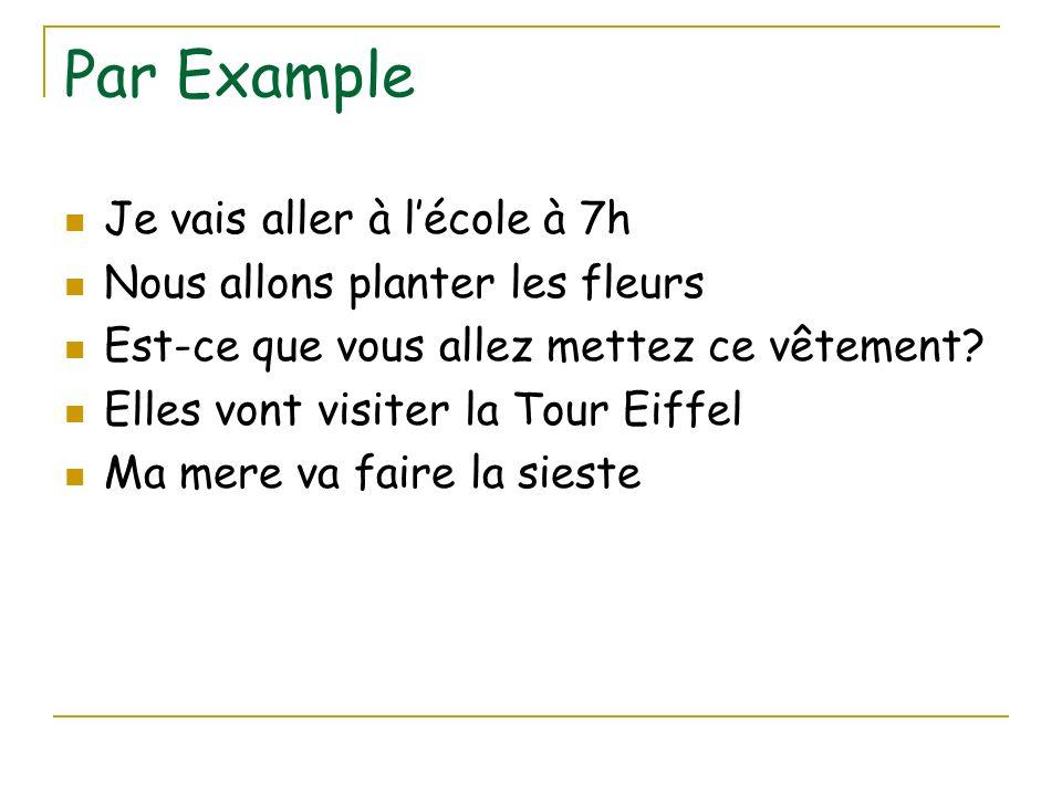 Par Example Je vais aller à lécole à 7h Nous allons planter les fleurs Est-ce que vous allez mettez ce vêtement? Elles vont visiter la Tour Eiffel Ma