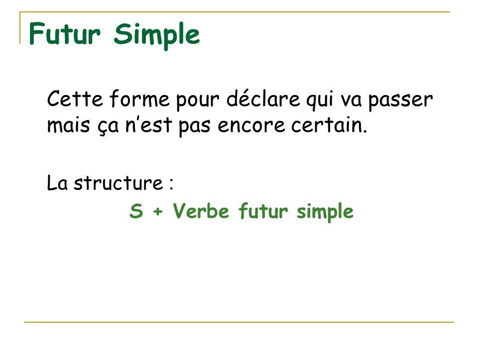 Futur Simple Cette forme pour déclare qui va passer mais ça nest pas encore certain. La structure : S + Verbe futur simple