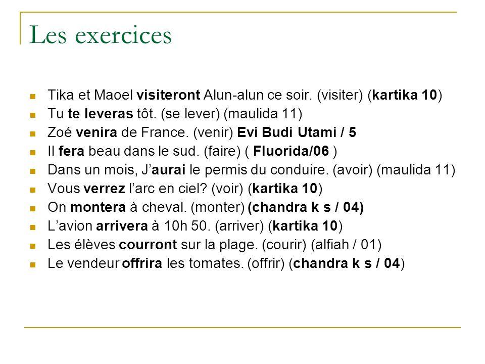 Les exercices Tika et Maoel visiteront Alun-alun ce soir. (visiter) (kartika 10) Tu te leveras tôt. (se lever) (maulida 11) Zoé venira de France. (ven