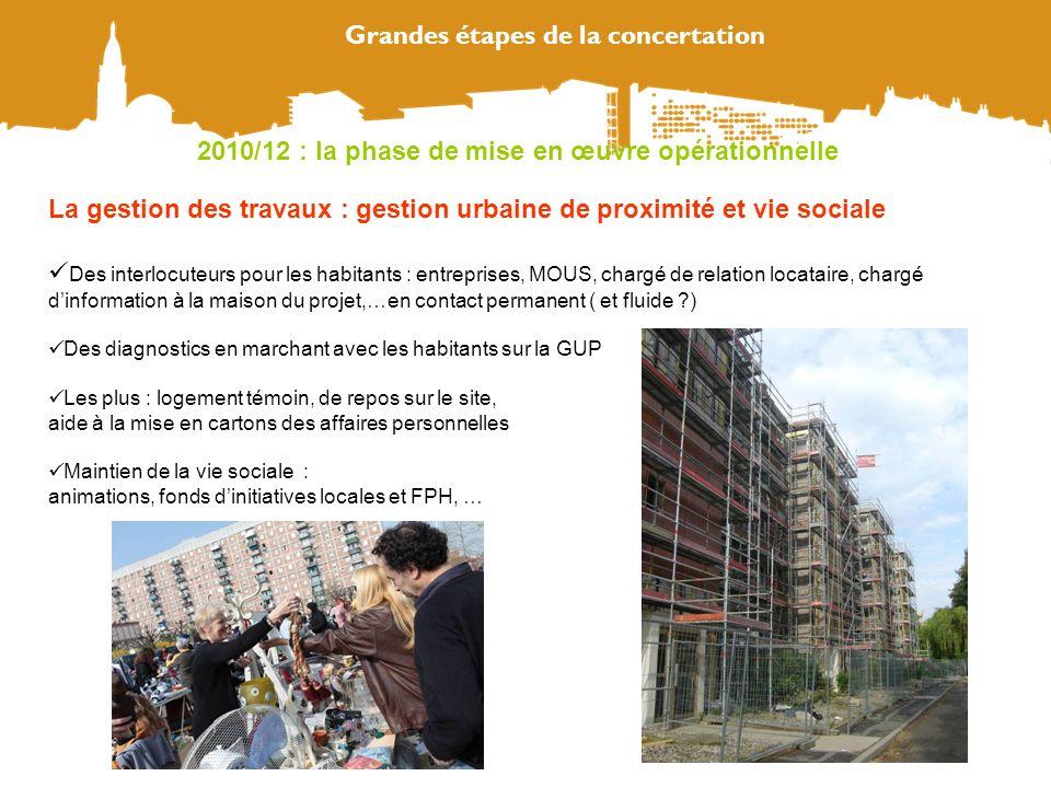 Grandes étapes de la concertation La gestion des travaux : gestion urbaine de proximité et vie sociale Des interlocuteurs pour les habitants : entrepr