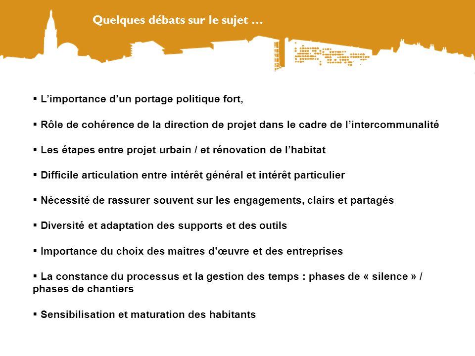 Quelques débats sur le sujet … Limportance dun portage politique fort, Rôle de cohérence de la direction de projet dans le cadre de lintercommunalité