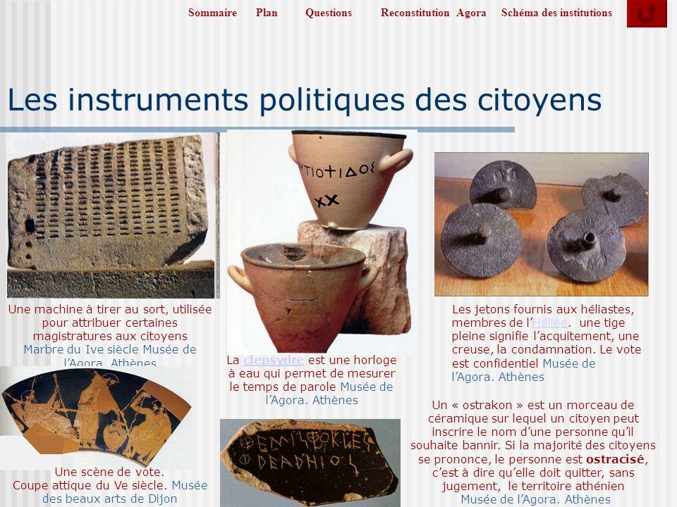 SommairePlanReconstitution AgoraSchéma des institutionsQuestions Les instruments politiques des citoyens La clepsydre est une horloge à eau qui permet de mesurer le temps de parole Musée de lAgora.
