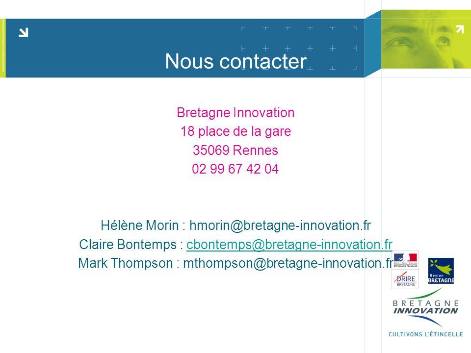 Nous contacter Bretagne Innovation 18 place de la gare 35069 Rennes 02 99 67 42 04 Hélène Morin : hmorin@bretagne-innovation.fr Claire Bontemps : cbon