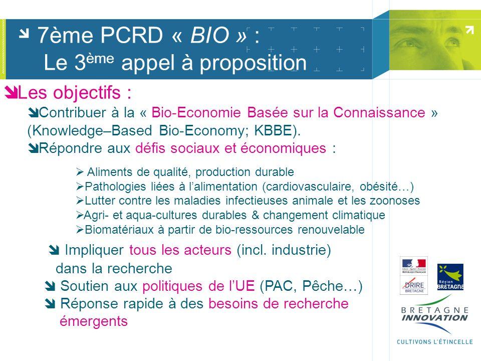 7ème PCRD « BIO » : Le 3 ème appel à proposition Les objectifs : Contribuer à la « Bio-Economie Basée sur la Connaissance » (Knowledge–Based Bio-Econo