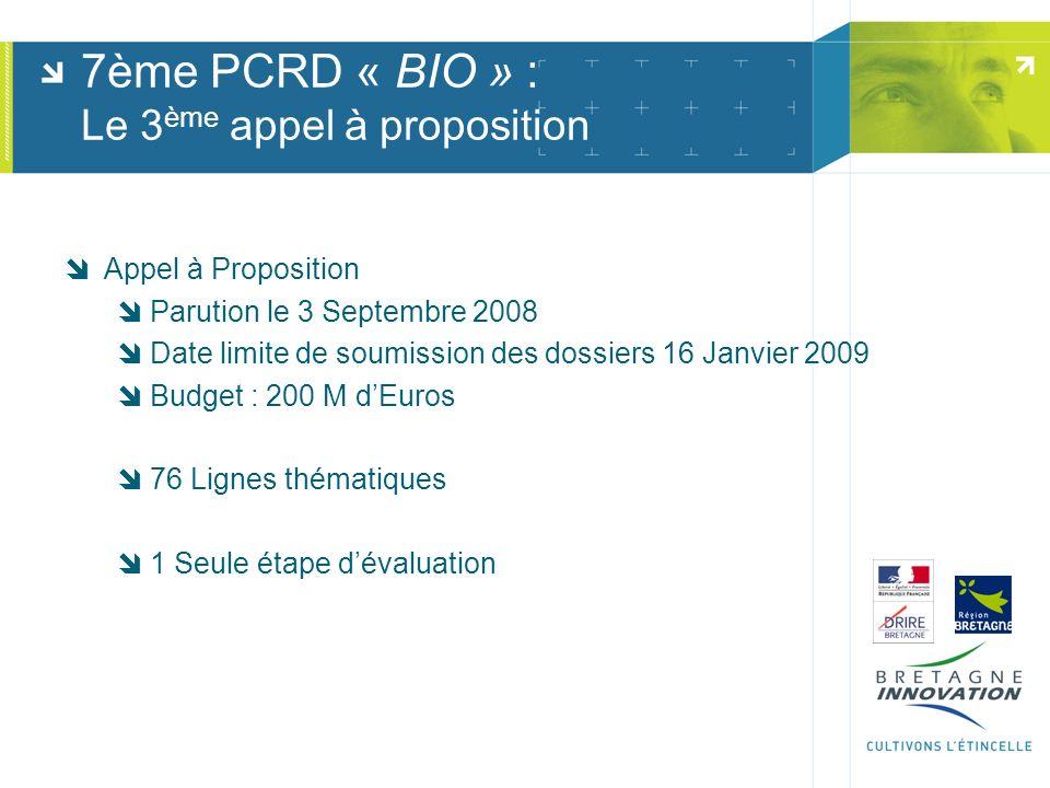 7ème PCRD « BIO » : Le 3 ème appel à proposition Appel à Proposition Parution le 3 Septembre 2008 Date limite de soumission des dossiers 16 Janvier 20