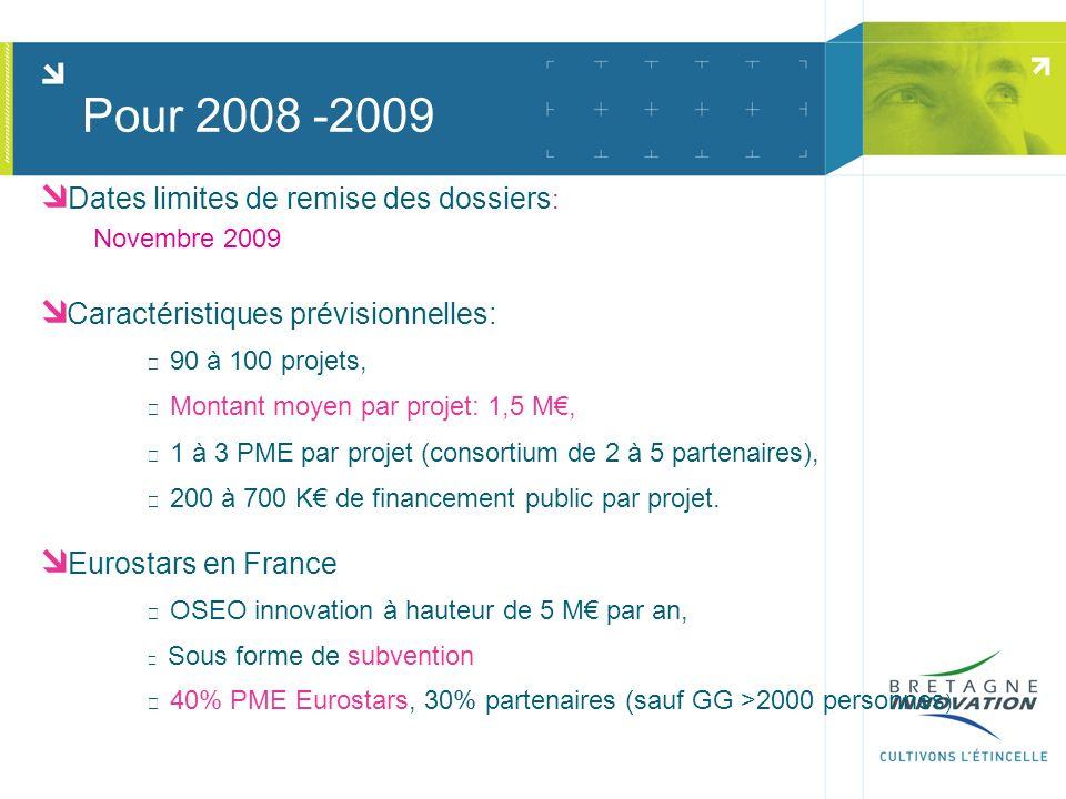 Pour 2008 -2009 Dates limites de remise des dossiers : Novembre 2009 Caractéristiques prévisionnelles: 90 à 100 projets, Montant moyen par projet: 1,5 M, 1 à 3 PME par projet (consortium de 2 à 5 partenaires), 200 à 700 K de financement public par projet.