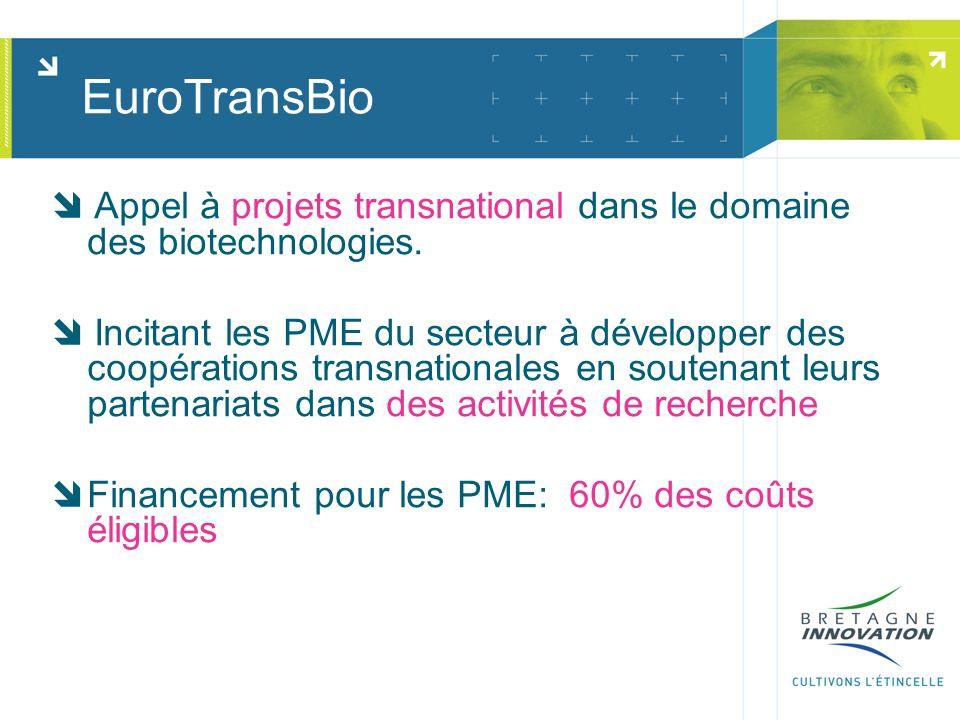 EuroTransBio Appel à projets transnational dans le domaine des biotechnologies. Incitant les PME du secteur à développer des coopérations transnationa
