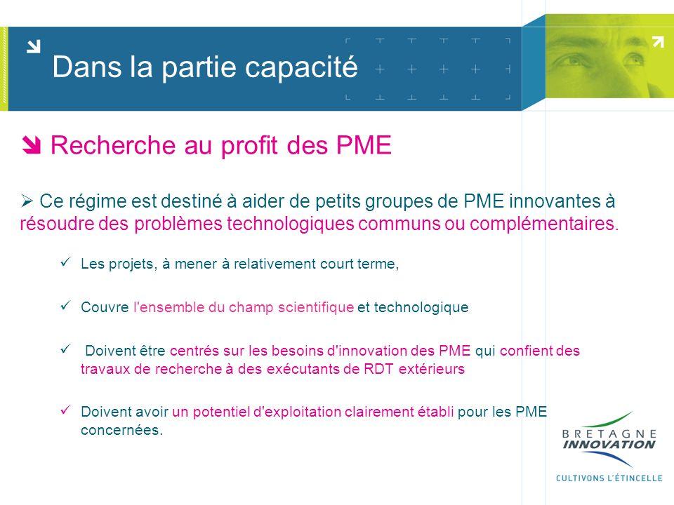 Recherche au profit des PME Ce régime est destiné à aider de petits groupes de PME innovantes à résoudre des problèmes technologiques communs ou compl