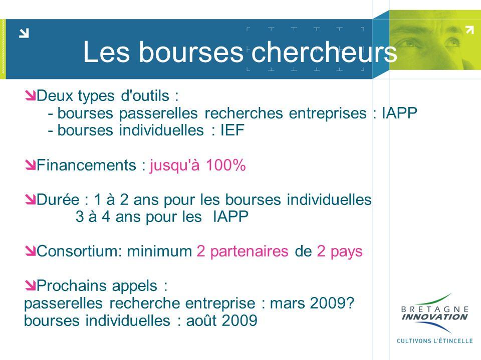 Les bourses chercheurs Deux types d'outils : - bourses passerelles recherches entreprises : IAPP - bourses individuelles : IEF Financements : jusqu'à