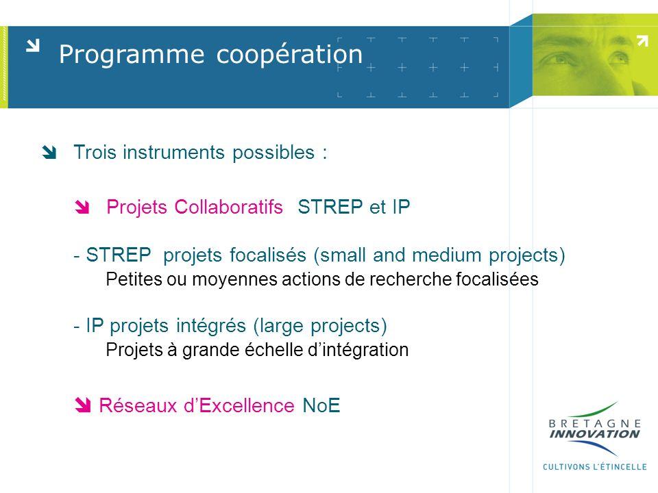 Programme coopération Trois instruments possibles : Projets Collaboratifs STREP et IP - STREP projets focalisés (small and medium projects) Petites ou moyennes actions de recherche focalisées - IP projets intégrés (large projects) Projets à grande échelle dintégration Réseaux dExcellence NoE
