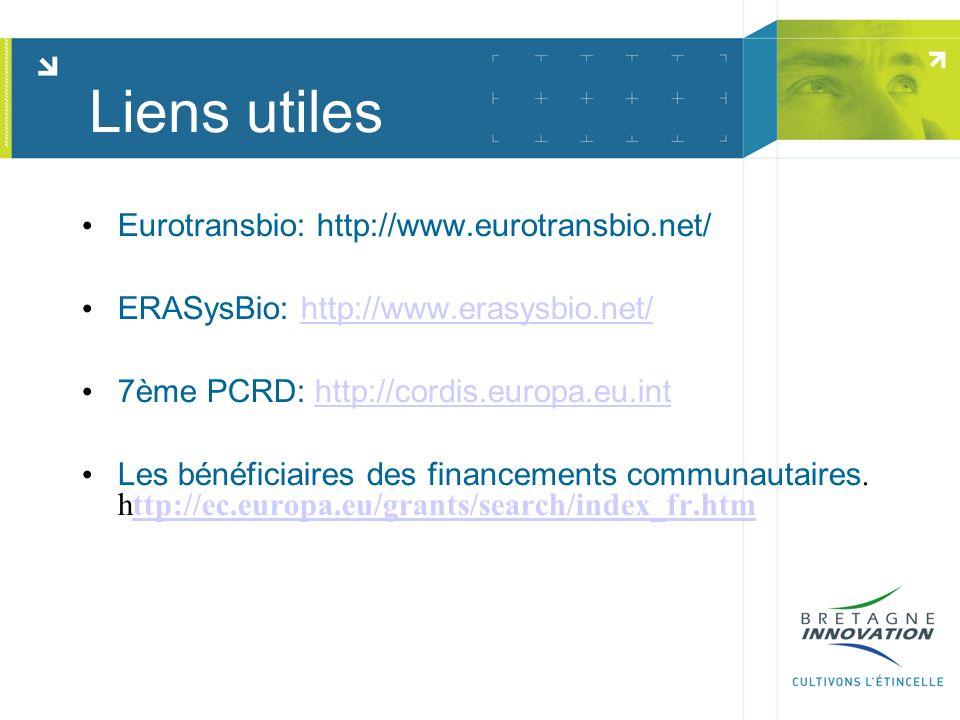 Eurotransbio: http://www.eurotransbio.net/ ERASysBio: http://www.erasysbio.net/http://www.erasysbio.net/ 7ème PCRD: http://cordis.europa.eu.inthttp://cordis.europa.eu.int Les bénéficiaires des financements communautaires.