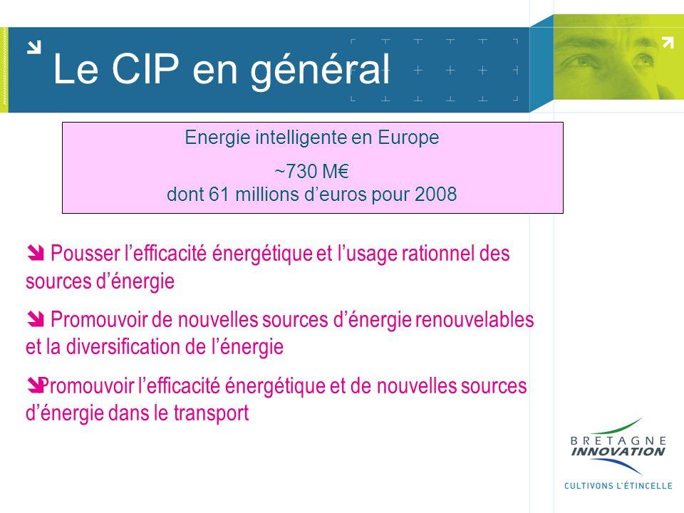 Energie intelligente en Europe ~730 M dont 61 millions deuros pour 2008 Pousser lefficacité énergétique et lusage rationnel des sources dénergie Promouvoir de nouvelles sources dénergie renouvelables et la diversification de lénergie Promouvoir lefficacité énergétique et de nouvelles sources dénergie dans le transport Le CIP en général
