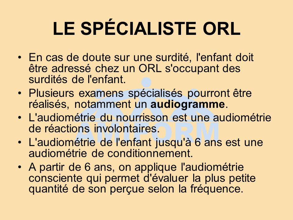 LE SPÉCIALISTE ORL En cas de doute sur une surdité, l'enfant doit être adressé chez un ORL s'occupant des surdités de l'enfant. Plusieurs examens spéc