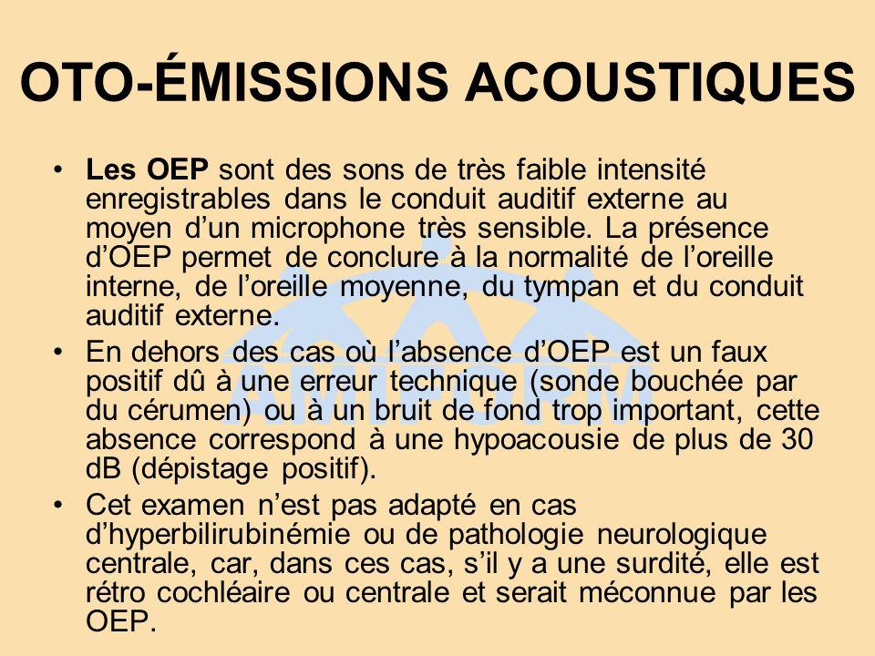 OTO-ÉMISSIONS ACOUSTIQUES Les OEP sont des sons de très faible intensité enregistrables dans le conduit auditif externe au moyen dun microphone très s