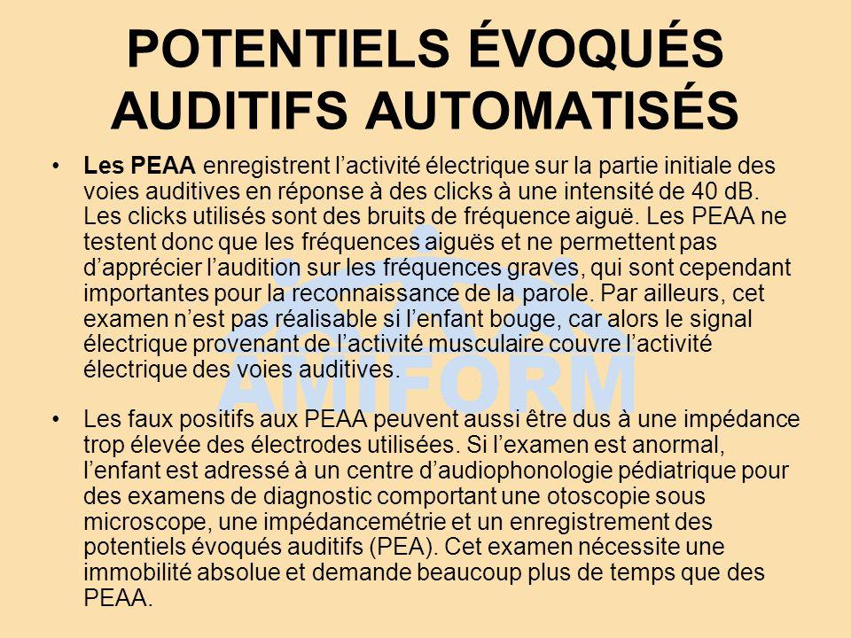 POTENTIELS ÉVOQUÉS AUDITIFS AUTOMATISÉS Les PEAA enregistrent lactivité électrique sur la partie initiale des voies auditives en réponse à des clicks